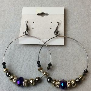 Jewelry - New Blue and Silver Circle Earrings